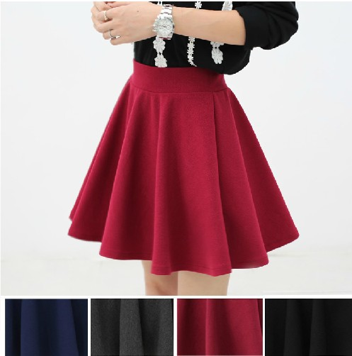East Knitting G7 2014 women high waist pleated skirts 2013 new fashion Black candy color skirt S M L XL plus size-in Skirts from Apparel & Accessories on Aliexpress.com