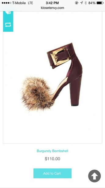 shoes sandal heel with fur
