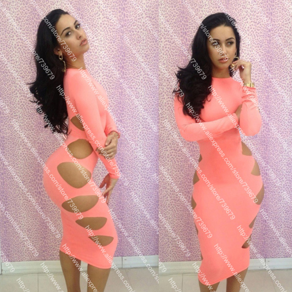2013 Novelty Long Sleeve Bandage Dress Slim Elegant Club Dresses Pink Casual Dress Free Shipping 5554-in Dresses from Apparel & Accessories on Aliexpress.com