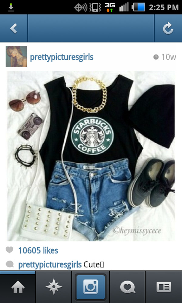 shirt bag jewels shorts