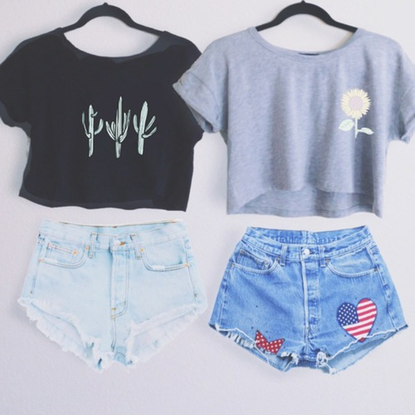 both please asap and also shorts beach party t-shirt black cactus crop top