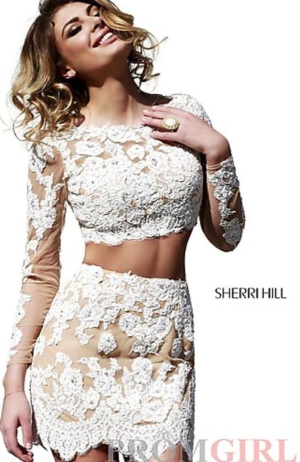 cream prom dress short party dresses crop tops skirt floral lace dress open back long dress