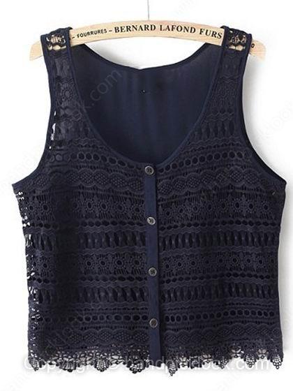Navy Sleeveless Hollow Chiffon Lace Crop Vest - HandpickLook.com