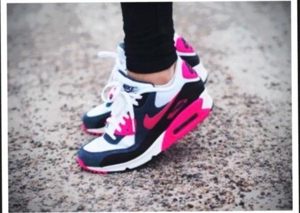 shoes pink white black air max