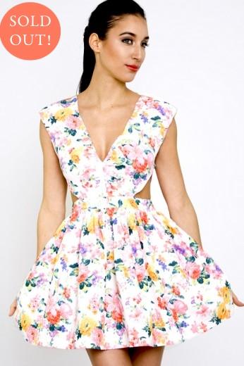 Sonic Fields Cut Out Dress- Floral Cut Dress- $58