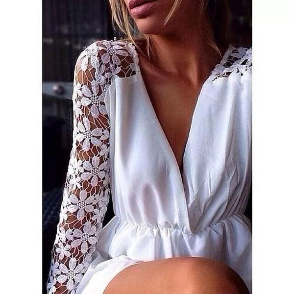 shorts romper lace white