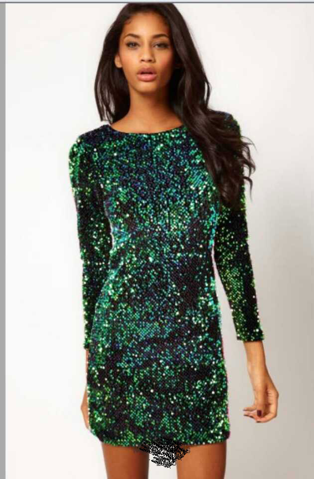 Free Ship Hot Sale Genuine Motel Gabby Iridescent Sequin Dress, Green BLING BLING Metallic Paillette Plunge Back Sexy Club Wear-inDresses from Apparel & Accessories on Aliexpress.com