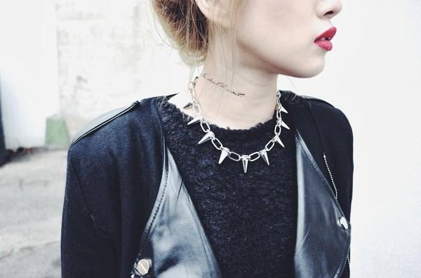 jewels jewelry silver spikes spiked necklace necklace urban streetwear