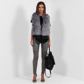coat maniere de voir mdv zip zipped off sleeveless jackt jacket fur gilet panelled waistcoat