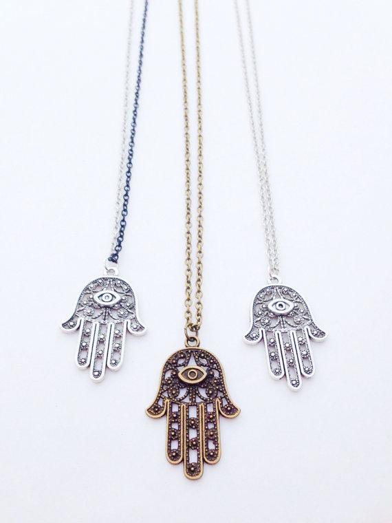 Hamsa Necklace. Silver Brass or Twotone. Unisex. by BrielleBelle