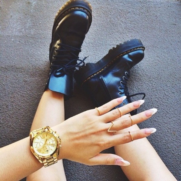 jewels watch where did u get that cute gold watch hipster nails DrMartens