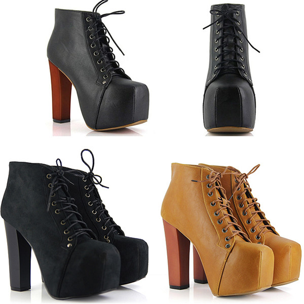 Sexy Women Platform Round Toe Thick High Heels Strappy Lace Up Ankle Boots Shoes | eBay