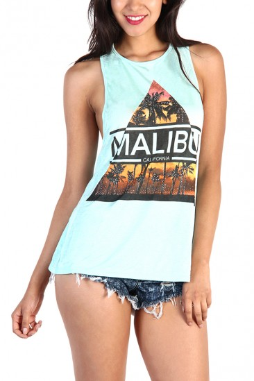 LoveMelrose.com From Harry & Molly | Malibu Back Cut Out Tank Top - Mint