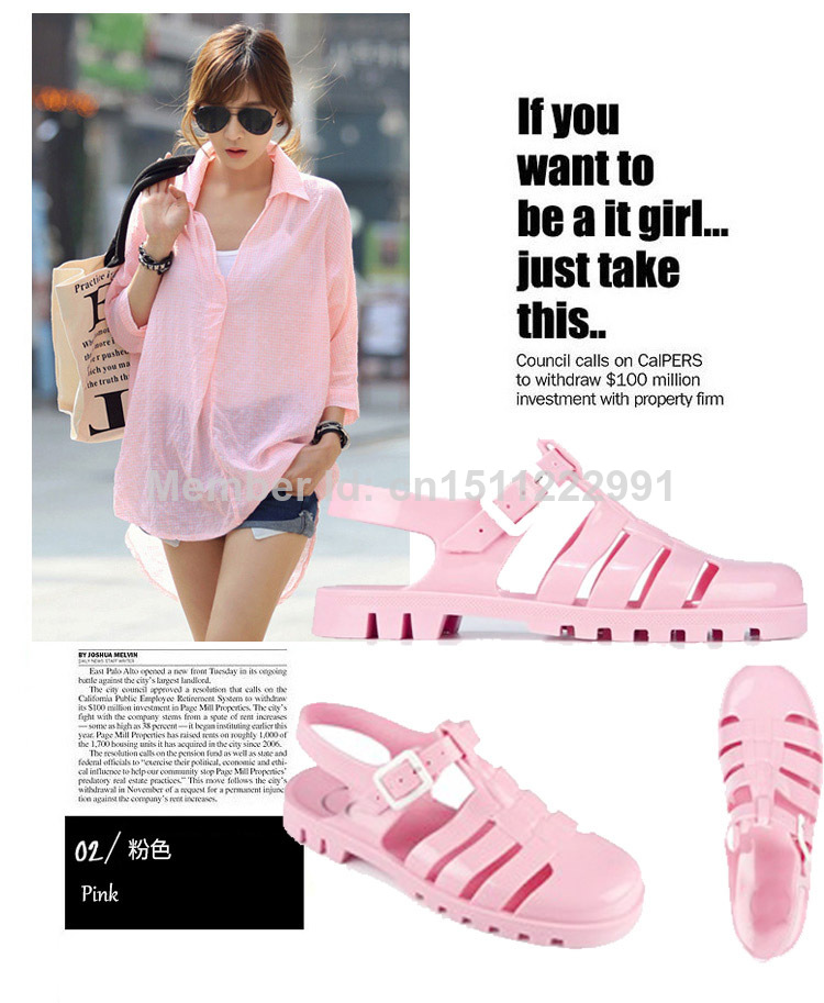 Preferred JUJU the same paragraph jelly shoes with flat pink sandals in  PY98