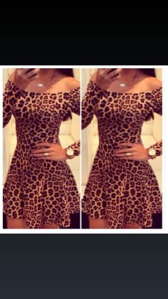 dress leopard print dress off the shoulder dress skater skirt