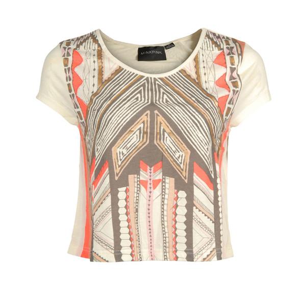 t-shirt womens multi colour mayan temple t-shirt mink pink
