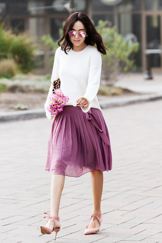 fit fab fun mom blogger sweater skirt shoes bag sunglasses jacket jewels purple skirt lavender high heel pumps pleated skirt