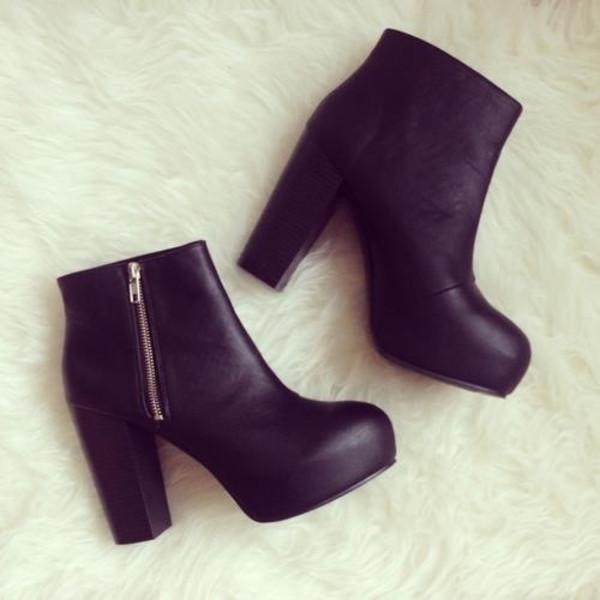 shoes autumn high heels black leather noir chaussures talons hauts