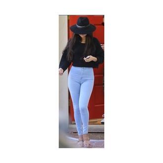 selena gomez black black sweatshirt black sweater american apparel fashion jeans hat disney