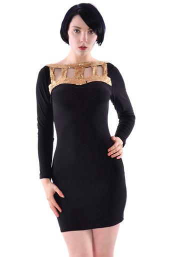 Calla Gold Sequin Neck Lon Sleeve Bodycon Dress - Pop Couture