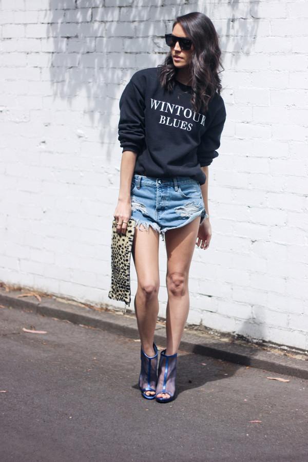 vintage soul sweater bag shorts shoes sunglasses blouse