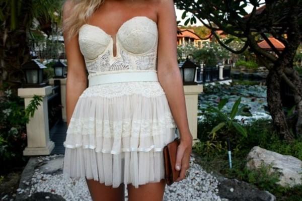 white dress strapless dress strapless mini dress lace dress white lace dress bustier bustier dress