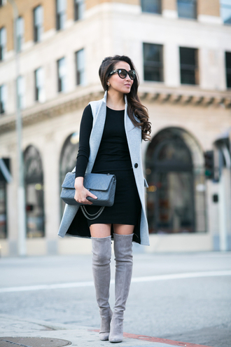 wendy's lookbook blogger suede boots grey boots thigh high boots long sleeve dress jacket dress bag shoes sunglasses jewels sleeveless coat