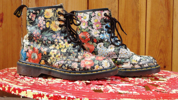 Floral Dr Martens size 9  9.5 by TheDocShop on Etsy