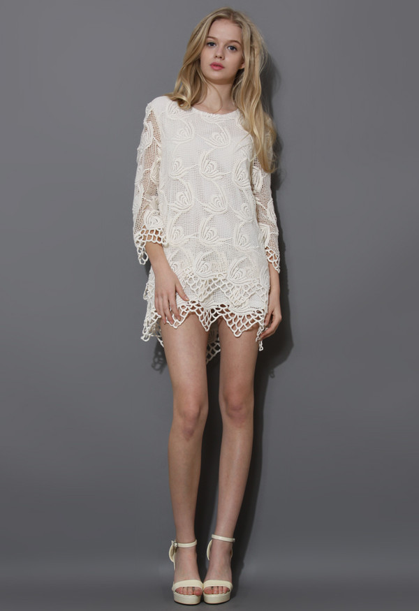 dress ivory wavy tiered crochet