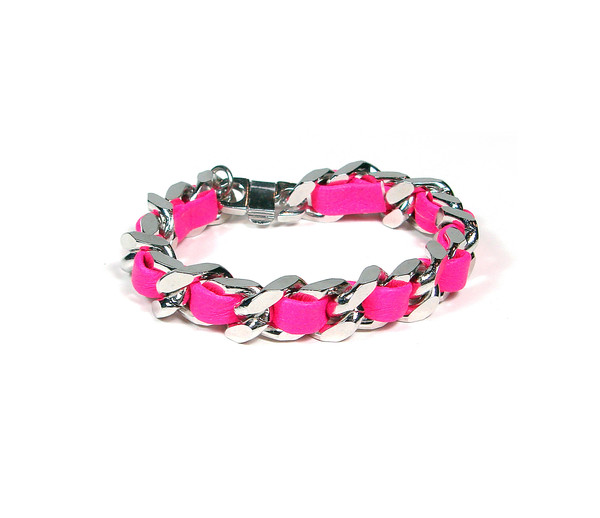 Hot Pink Woven Chain Bracelet   Created by Fortune