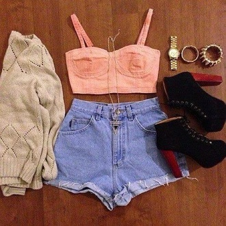 shorts high waisted shorts demin bustier bustier top cut off shorts cut offs coral baby pink beige cardigan knitted sweater lita platform boot high heels tank top sweater shoes jewels