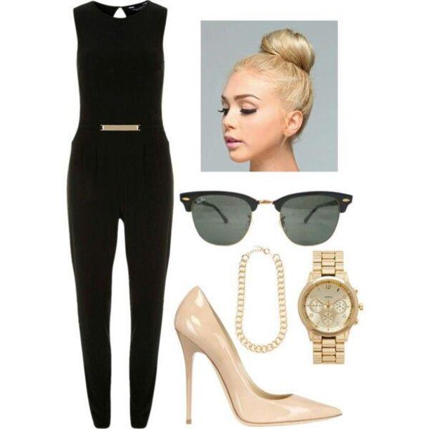 jumpsuit michael kors sunglasses nude high heels classy jewels romper shoes