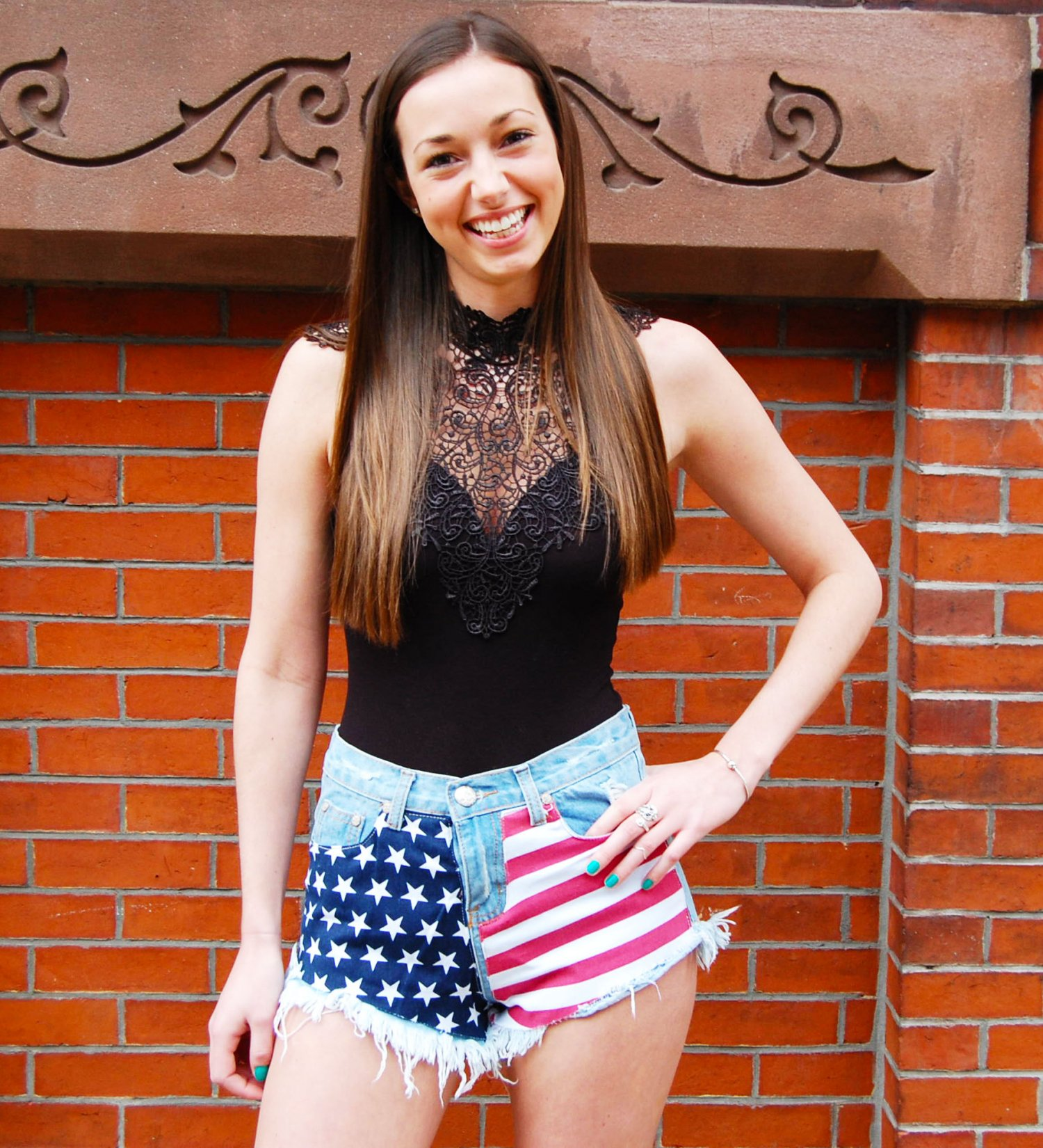 Blue Shorts - American Flag Print High Waisted | UsTrendy