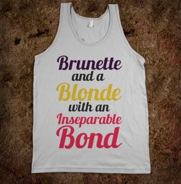 tank top white tank top graphic tee brunette blonde hair skreened