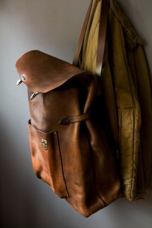 bag brown tan backpack vintage