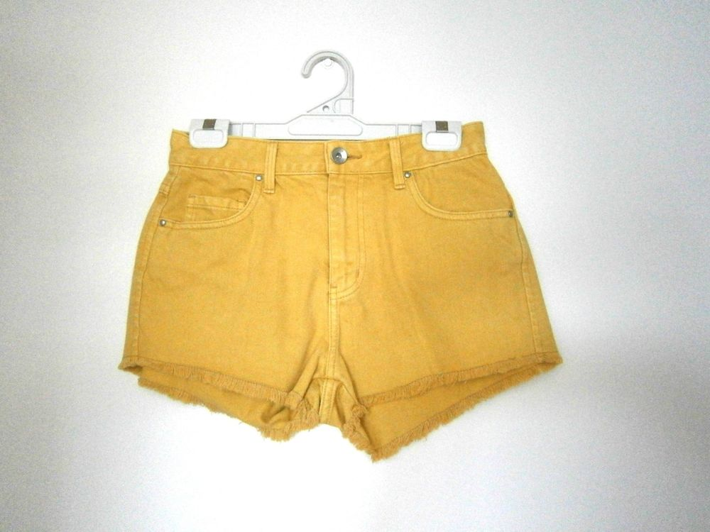 Riders Mustard High Waist Shorts Size 8 10 | eBay