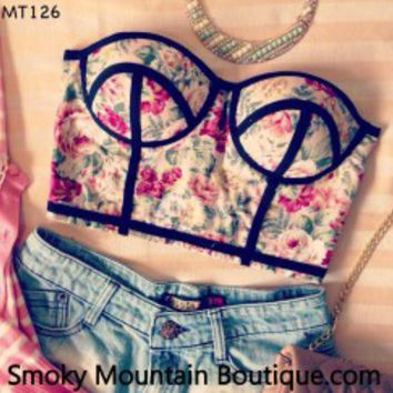 Midriff Bustier Top With Multi Color Floral Pattern Size S/M - MT126 - Smoky Mountain Boutique on Wanelo