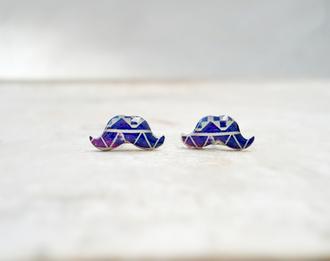 jewels earrings moustache cute geometric fashion blue earrings studs