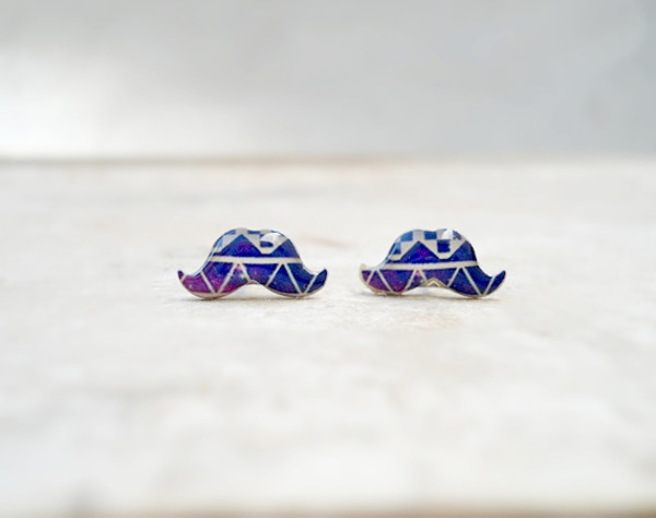jewels earrings moustache cute geometric fashion blue earrings earrings studs