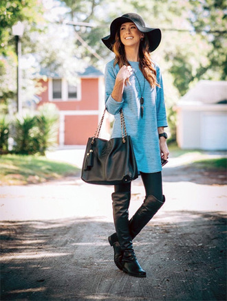 top tunic necklace hat fall outfits leggings fedora jewels