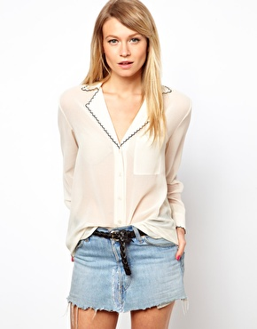ASOS | ASOS Blouse With Drop Collar And Contrast Scallop Embroidery at ASOS