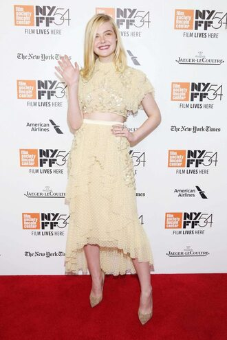 blouse crop tops elle fanning yellow skirt midi skirt pumps ruffle lace dress lace two-piece