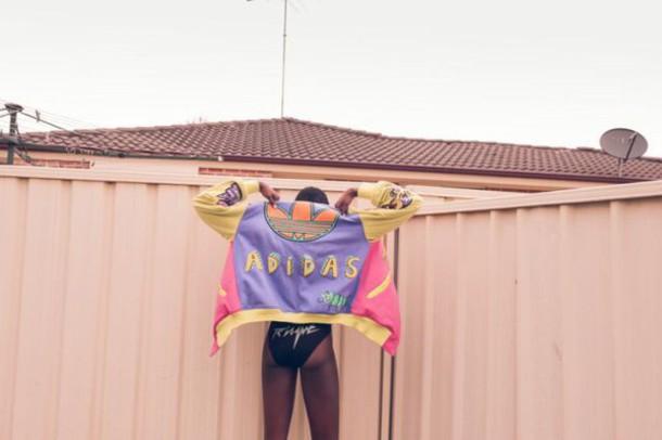 jacket adidas varsity jacket adidas purple yellow pink orange multicolor color blocked jacket varsity jacket dope