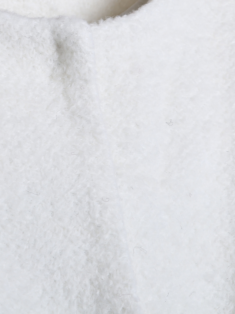 White Contrast Faux Fur Long Sleeve Pockets Coat - Sheinside.com