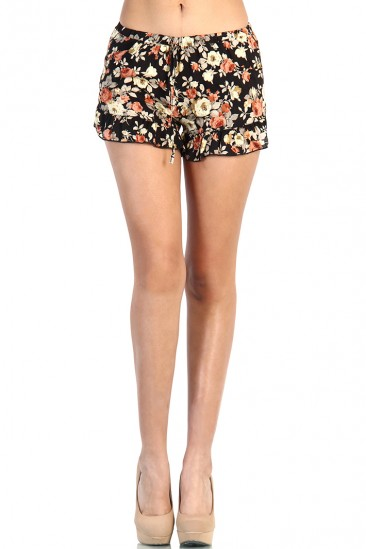 LoveMelrose.com From Harry & Molly | Coral Floral Short - Black