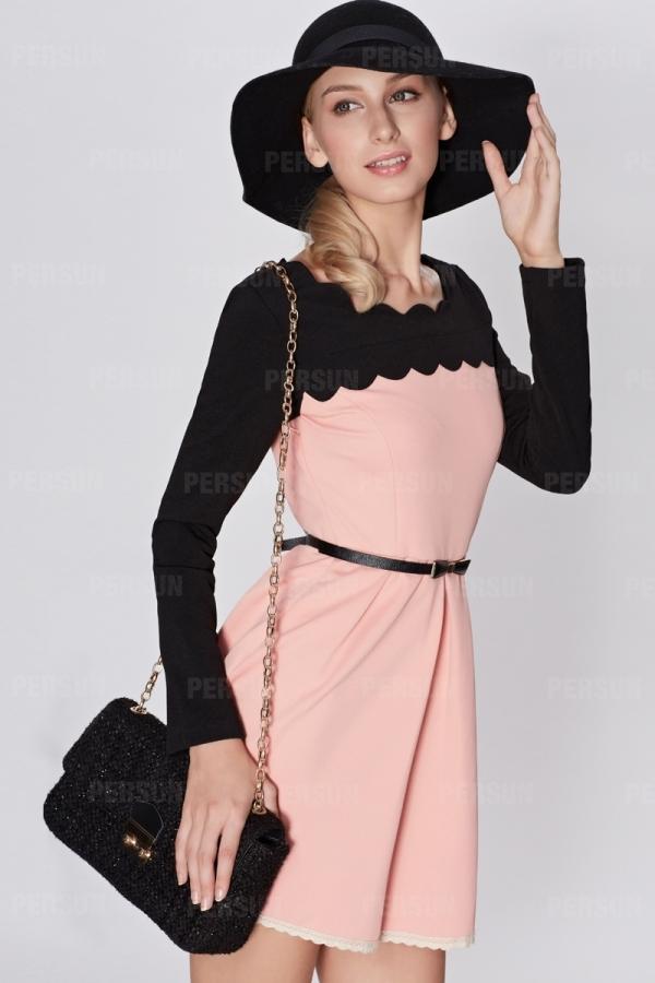 OSA Color Block Dress with Belt [FOSA0003] - PersunMall.com