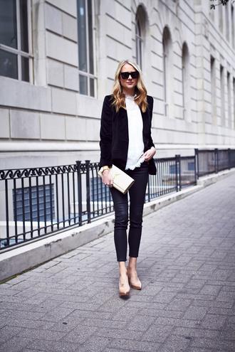 fashionjackson blogger jacket top pants shoes bag jewels sunglasses office outfits blazer ysl ysl bag blouse black leather pants leather pants black blazer black sunglasses thanksgiving outfit
