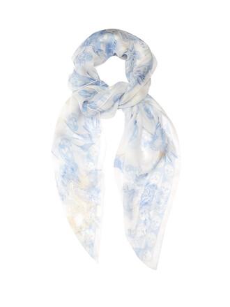 skull chiffon scarf silk blue
