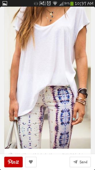 jeans snake print pants pastel pink purple blue tie dye white acid wash jeans t-shirt jewels