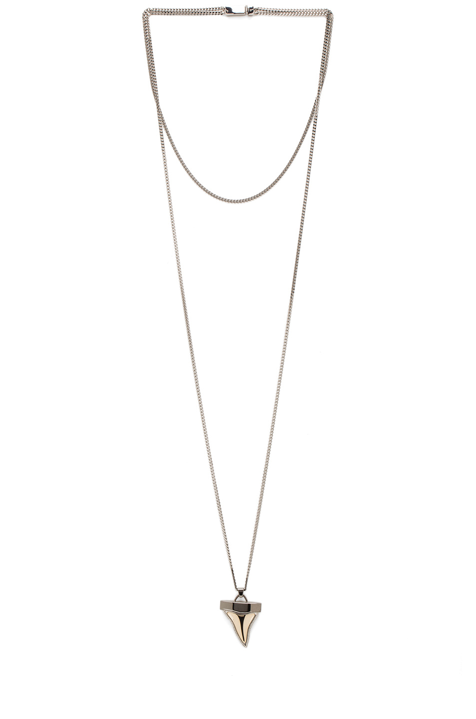 GIVENCHY|Small Metal Shark Tooth Necklace in Silver & Gold